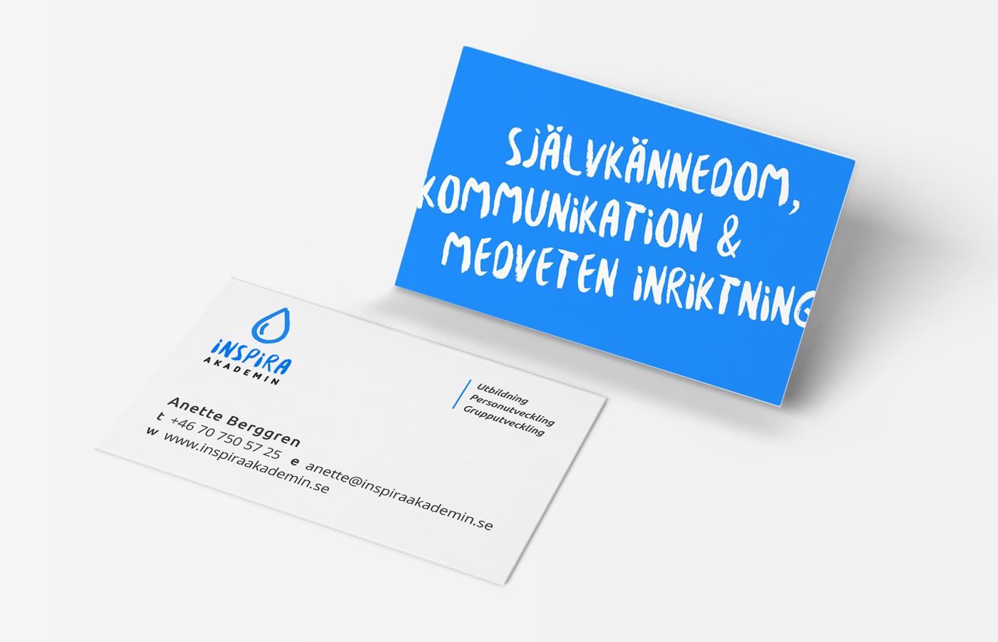 inspira akademin, business card design, identity