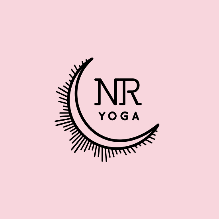 nuria reed yoga, logo, yoga teacher, santa barbara, california, pink, moon