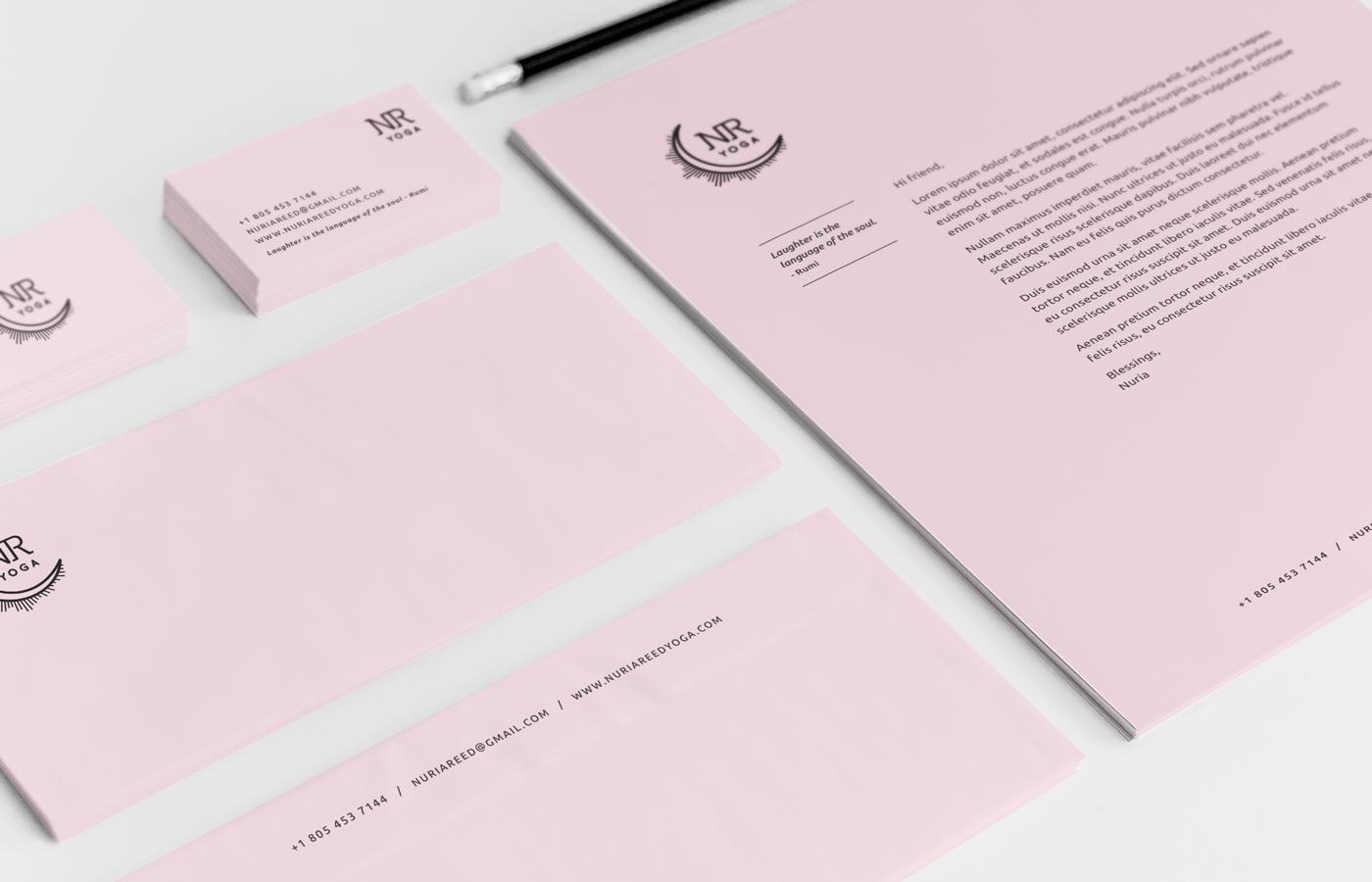nuria reed yoga, identity package, brand, pink, black, moon