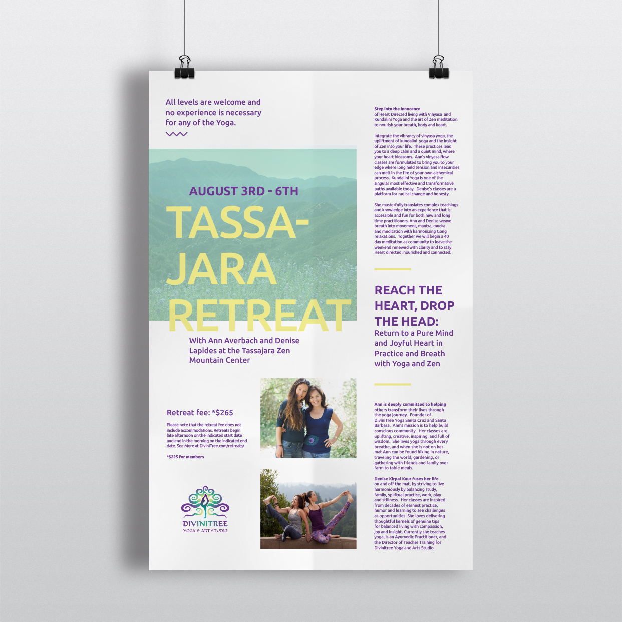 yoga studio, flyer design, promotional, poster design, santa barbara