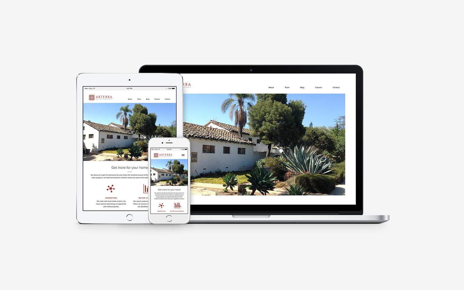 arterra real estate, responsive web design, website design, mobile, tablet, desktop
